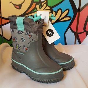 Girls Gray Kitty Cat Neoprene Rain Boots 5/6